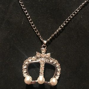 Princess rhinestone cross and crown necklace
